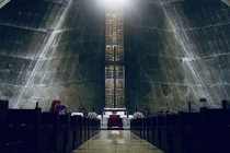 Interior of St Marys Cathedral in Tokyo designed by Kenz Tange