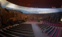 Interior of Temppeliaukio rock church Helsinki Finland