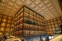 Interior of the Beinecke Rare Book and Manuscript Library at Yale New Haven CT by Gordon Bunshaft  The translucent marble walls are designed to protect the rare books from direct sunlight while still letting in natural light