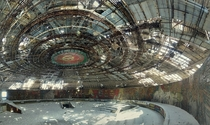 Interior of the Buzludzha Monument in Bulgaria