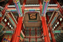 Interior of the Geunjeongjeon Hall the Throne Hall of the Gyeongbok Palace Seoul South Korea