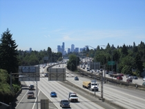 Interstate  and the Seattle skyline from Roosevelt