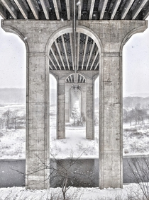 Interstate  Bridge in Cuyahoga Valley National Park during a snowstorm