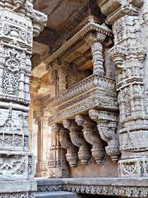 Intricate carvings at the Adalaj Stepwell located in Gujarat BharatIndia