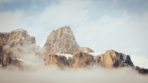 Inversion on the peaks of Castle Mountain Banff National Park OC  Taken Monday evening