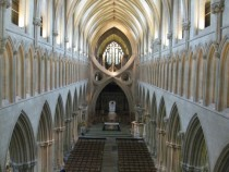 Inverted arches in Wells Cathedral Somerset England
