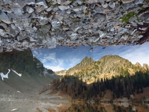 Inverted photo of Blue Lake North Cascades