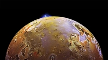 Io Jupiters moon undergoing a volcanic eruption Some volcanoes on Io blast lava  miles  km out into space Credits NASAJPLDLR