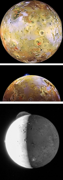Io one of Jupiters moons is the most volcanically active place in the Solar System with hundred of volcanoes covering its surface Plumes of sulfur shoot up to  miles into space and the surface is covered with lava lakes The whole moon also smells like rot