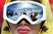 Iranian skiers are reflected in the goggles of a skier at Dizin Ski Resort  miles  kilometers north of the capital Tehran Ebrahim Noroozi