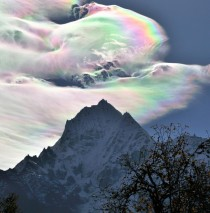 Iridescent cloud atop Mt Everest