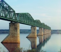 Iron bridge on stone pillars - Russian Trans-Siberian Railroad