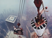 Iron Workers from New York Local  and PANYNJ moving a section of the World Trade Center antenna into place Photographed  feet above the streets of New York and  feet above the North Tower of the World Trade Center Image copyright Peter B Kaplan