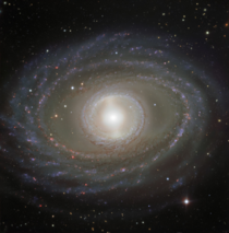 Isolated barred spiral galaxy NGC  Located  million light-years away from earth it is  light-years across slightly larger than the milky way and it exhibits a wonderful and pretty rare double ring structure image creditESOs Very Large Telescope