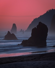 It felt like the world was on fire Sunset on Cannon Beach Oregon