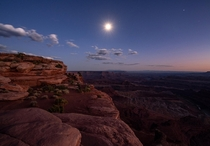 It was incredible to witness the nearly full moon rising over the amazing landscape of Dead Horse Point UT