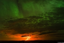 It was the show of a lifetime and we had the front row Volcano on the ground and Aurora in the sky - Bardarbunga