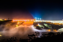 Itaipu Dam - Night photo of one the largest hydroelectric power plants in the world  - Photo by Alexandre Marchetti