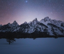 Its been quite a snowy winter here but a couple nights ago the skies finally cleared Grand Teton National Park Wyoming