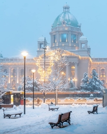 Its chilly in front of the Parliament building in Belgrade