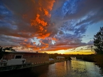 Its like fire and ice hovering over the Racquette River in Potsdam NY