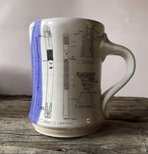Ive been designing SpaceX inspired blueprint mugs lately Totally functional and the schematics are hand drawn