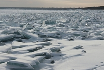 Jagged ice on the surface of Lake Superior in Wisconsin