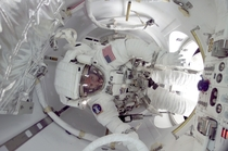 James F Reilly during for the first space walk utilizing the Quest airlock in July