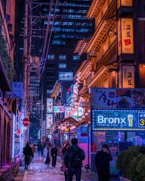 Japanese themed restaurants at a back alley in Gangnam District Seoul South Korea