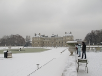 Jardin du Luxembourg under the snow Paris
