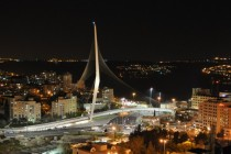 Jerusalem Chords Bridge at night