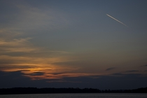 Jet streaking over a calm WI sunset