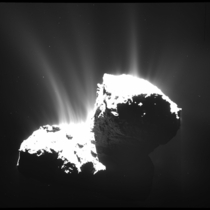 Jets of gas and dust from Comet Churyumov-Gerasimenko P photo taken by the Rosetta spacecraft in November