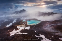 Jewel in the mist Emerald Lakes Tongariro National Park NZ  Photo by Dylan Toh amp Marianne Lim xpost from rNZPhotos