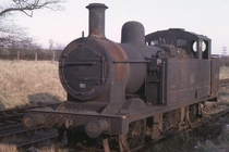 Jinty spent many years at Stafford and Stoke but here she is seen at her final resting place at George Cohens yard at Cransley UK By John Evans