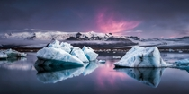 Jkulsarlon Glacier Lagoon during a summer night  Photo by Andreas Wonisch xpost from rIsland