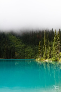 Joffre Lake in the mist British Columbia Canada