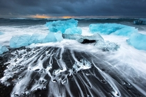 Jokulsarlon the glacial lake in southeast Iceland at sunrise  by Piriya Wongkongkathep