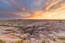 June Sunset in Badlands NP South Dakota