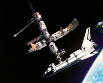 June th  the Space Shuttle Atlantis docks with the Russian Space Station Mir This is the second time a Russian and American spacecraft dock and the antecedent that led to international cooperation in future space projects like the ISS