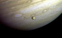 Jupiter and Its moon Io taken by Voyager  in   NASAJPL