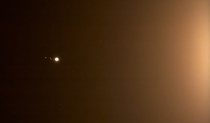 Jupiter and moons in the glare of the moonlight