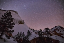 Jupiter and Stars over a snowy Zion National Park
