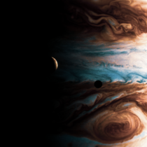 Jupiter Io and Europa Shadow Made in Blender D