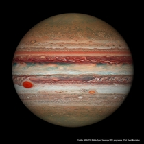 Jupiter is home to one of the largest and longest lasting storm systems named the great red spotGRS The GRS has been shrinking CreditNASA ESAHubbleOPAL Program STScIKarol Masztalerz