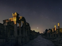 Jupiter Over Ephesus  A brilliant Jupiter shares the sky with the Full Moon tonight This moving skyscape has Jupiter above the southeastern horizon and the marbled streets of the ancient port city of Ephesus located in modern day Turkey At the left the te