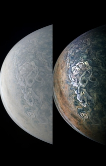 Jupiter Perijove  from the NASA Juno spacecraft True v Enhnaced  Merry Xmas