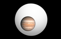 Jupiter superimposed on the largest known exoplanet CT Chamaeleontis b