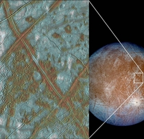 Jupiters moon Europa amp its surface Credit Galileo mission s