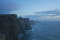 Just after the sun dipped below the horizon at the Cliffs of Moher Ireland